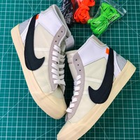 Off White X Nike Blazer Studio White Black Mid Sneakers - Best Online Sale