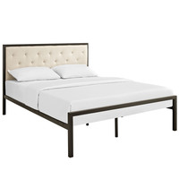 Mia Queen Fabric Platform Bed Frame in Brown Beige