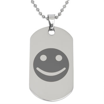 Smiley Face Stainless Steel Dog Tag Ball Chain Necklace