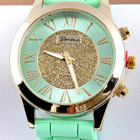 Geneva Glitter Gold Dial Silicone Watch