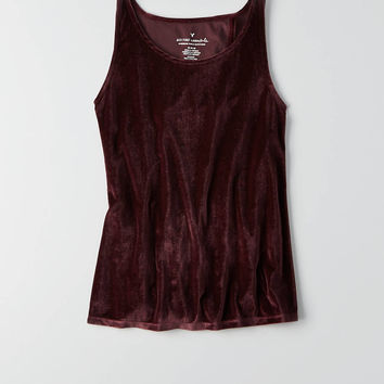 AEO Wrap Back Velvet Tank , Raisin Red