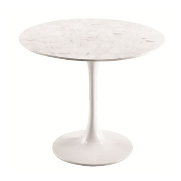 Fine Mod Imports Home Indoor Livingroom Flower End Side Table White Marble Top White