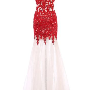 Sunvary Mermaid Lace Prom Evening Dresses Bridesmaid Gowns 2016