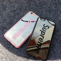 Fashion Luxury Supreme Sliver Mirror Case For Iphone 5 5s 6 6s 6Plus 6s Plus Chrome Back Cover Carcasa Capa Coque Fundas