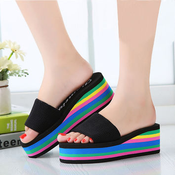 2017 Women sandals slippers new summer fashion rainbow leopard muffin sandals home shoes wedge heels beach sandals ALF134