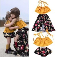 2pcs. Off Shoulder Ruffle Floral Sisters Matching Outfits