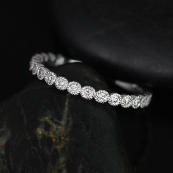 Petite Bubbles 14kt White Gold Diamonds WITH Hand Milgrain Beading ALMOST Eternity Band(Available in Diamonds and Other Metals)