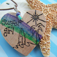 Wood Burned Heart  Surfer Girl