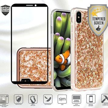 CREYON iPhone X Case with Tempered Glass Screen Protector, Women Design Bling Frozen Glitter Rhinestone Sparkly Shinning Shockproof Bumper TPU Hard Case Cover (Rose Gold)