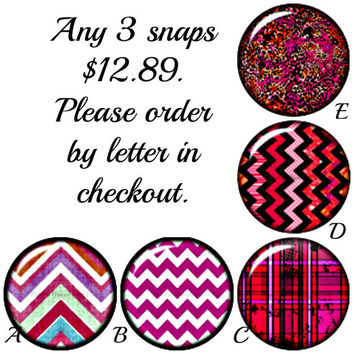 Any 3 Chunk Charms for 12.89. Fuchsia Chevron Snap charms are compatible with Gingersnap or Noosa style Jewelry.