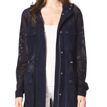 Women's Perforated Suede Anorak - Michael Kors - Indigo