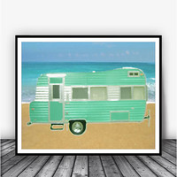 Camping On The Beach Art Print Poster