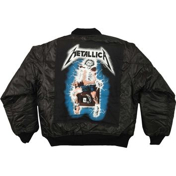 Metallica Men's  RTL Satin Jacket Jacket Black
