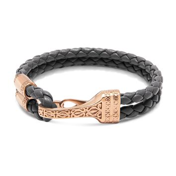 Men's Grey Leather Bracelet with Rose Gold Bali Clasp Lock