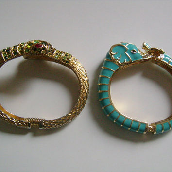 KJL Kenneth Jay Lane Gold Tone Green Rhinestones Snake and Turquoise Enamel Elephant Head Striking Animal Coil Hinged Cuff Bangle Bracelets