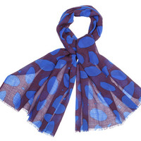 Bags and Accessories: Marimekko Nolla scarf in bright blue, plum | Marimekko Store