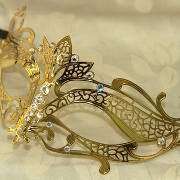 Gold Tiara Style Masquerade Laser Cut Mask with Rhinestones