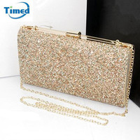 3 Colors 2016 Bling Women Handbag New Lady Elegant Shoulder Evening Bag Gold & Silver Clutch Box Cross-body Bags Bolsa Feminina