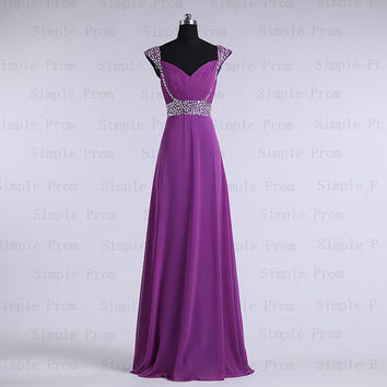 Aline Scroop Floorlength Sleeveless Purple Chiffon by SimpleProm