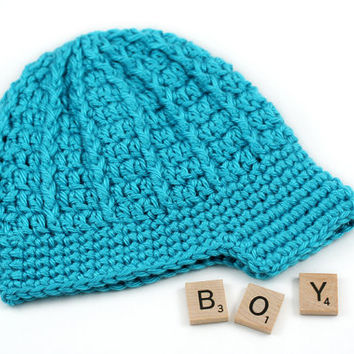 Bright Blue Crochet Newsboy Hat // Newborn Boy Newsboy Beanie Hat // 0 to 3 Months
