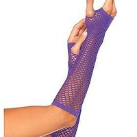 Purple Fishnet Gloves