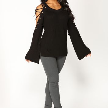 No Explanation Lace Up Sweater - Black