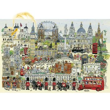Michelangelo Wooden Jigsaw Puzzles 1000 Pieces London Town Cartoon Educational Toy DIY Decorative Wall Painting Gift Home Decor