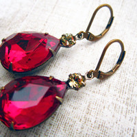 Vintage Earrings Red Earrings Estate Style Dark Ruby Red Glass Pear Shape Earrings Holiday Jewelry