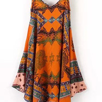 Orange Tribal Print Spaghetti Strap Asymmetrical Mini Dress