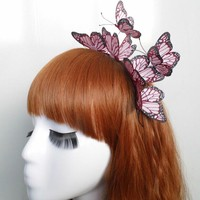 Fashion Jewelry Cloth Simulation Pink Butterfly Hair Bands Jewelry Stereo Headband Hair Accessories for Girls