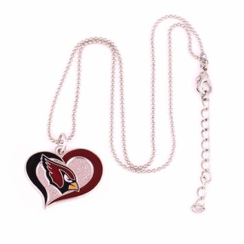 Fans collection Drop shipping enamel single-sided Arizona Cardinals Swirl Heart charm with copper popcorn chain sport Necklace