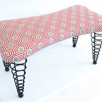 "Modern Handmade Upholstered Bench, Dog bone shape with Spiral Cone Legs, 36"" Length"