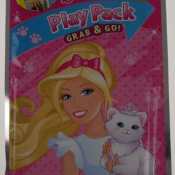 Lot 10 Barbie Play Pack Grab & Go Coloring Book Crayons Stickers Gift Bag Favors