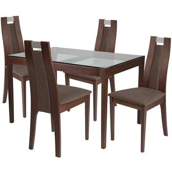 Saratoga 5 Piece Walnut Wood Dining Table Set with Glass Top and Curved Slat Wood Dining Chairs - Padded Seats