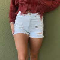 KanCan Light Washed Distressed Shorts