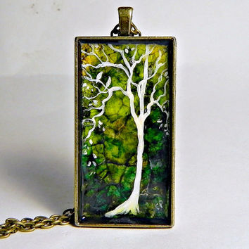 "Abstract TREE Pendant Necklace Rectangle  Eggshell Mosaic  1"" x 2"" Bronze Long 30"" chain"