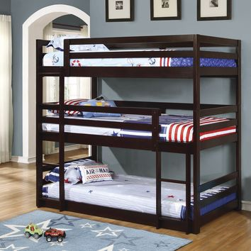 Coaster 400302 Cappuccino Triple Twin Bunk Bed