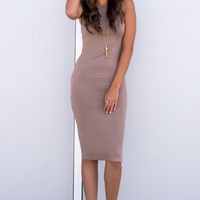Basic Bodycon Tank Dress- Tan