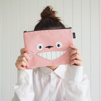 Super Cute Pink Totoro iPad mini sleeve / iPad mini case / iPad mini cover , Cute Totoro Case, with Zip, Handmade ipad case,  totoro bag