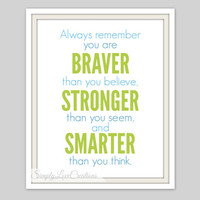 Nursery Print - Always remember you are Braver than you believe Quote / Typography Print / Girls or Boys  Room Print / Nursery Prints
