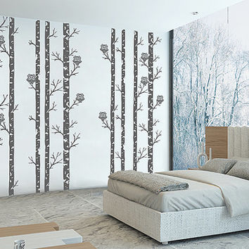 kik314 Wall Decal Sticker Room Decor Wall Art Moral forest owls birch tree bird living room children's bedroom (172)