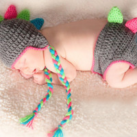 Kutsie Baby Crochet Dinosaur Hat & Bloomer Set