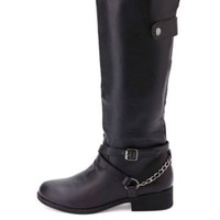 Belted Chain Harness Knee-High Riding Boots - Black