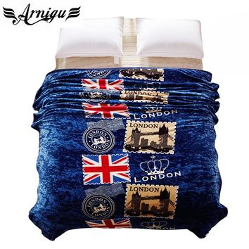 British style Blue print Blanket Ferrets cashmere soft winter bedding/sofa Throws warm bedsheet Twin Full Queen King size plaids