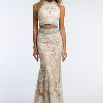 Lace Two Piece Dress with Beaded Trim