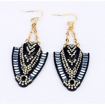 Navy and Crystals Drop Earrings