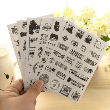 6 pcs pack Vintage Style Stamp Stickers Diary Sticker Scrapbook Decoration PVC Stationery DIY Stickers School Office Supply