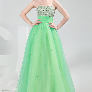 Light Green Strapless Bead Sequined Corset Prom Dress