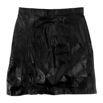 Black Leather Skirt - Mini High Waist Bodycon 90s Grunge Goth - Women's Size Small Sm S XS