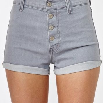 High Roller Denim Shorts - Gray